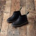 2016 Nuevas Botas de Invierno Cálido Niños Con Calidad PU Zapatos Niños Niñas Niños Zapatillas de Terciopelo Negro Marrón Al Por Mayor
