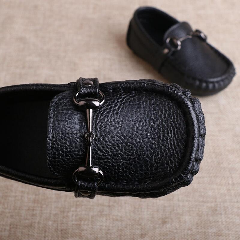Image 3 - SKHEK Autumn Boys Microfiber Leather Casual Loafers Baby/Toddler/Little Kid Black White Flats Children School Uniform Dress Shoe-in Leather Shoes from Mother & Kids