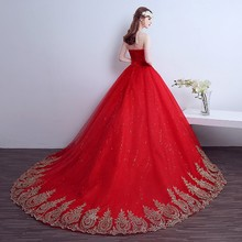 Beauty -Emily 2018 Lace Red Wedding Dress Long Train Plus Size Vintage Ball Gown Robe