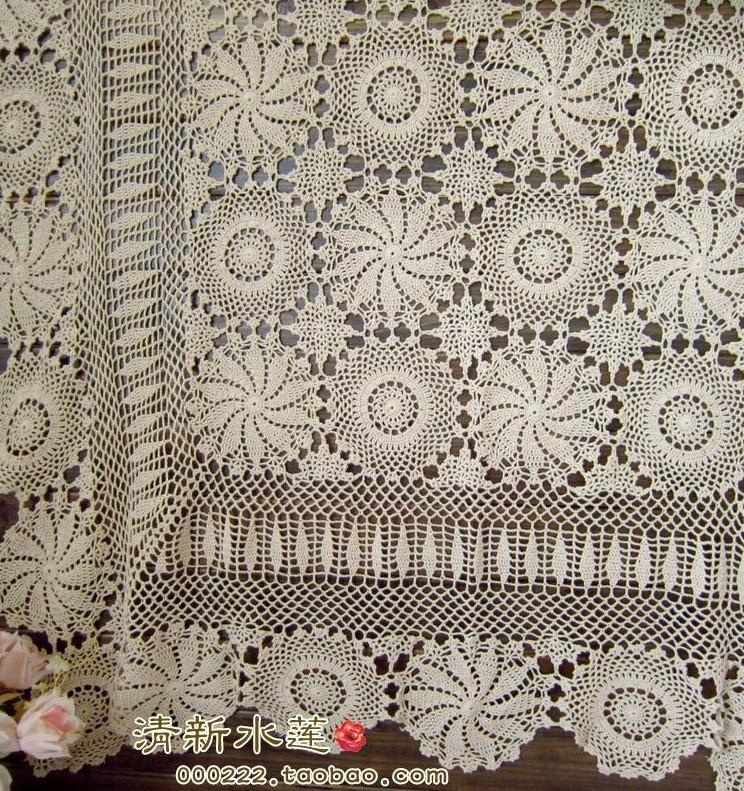 Free Shipping Fashion Flowers Design Beige Crochet Bed Sheet
