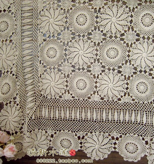 Free Shipping Fashion Flowers Design Beige Crochet Bed Sheet