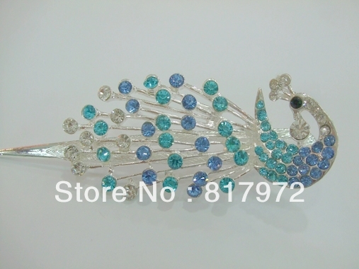 Glamour  shining blue crystal carved peacock pin stick barrette hair slide clip woman party gift