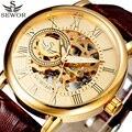 Sewor Homens Top De Luxo Da Marca Relógios de Ouro Esqueleto de Couro Relógio Mecânico Relógio Masculino de Negócios Casuais Mens Relógios Relojes