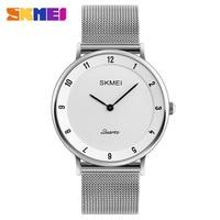 SKMEI Luxury Brand Watch Steel Slim Simple Style Ultra Thin Men Quartz Sport Watch Waterproof Causal