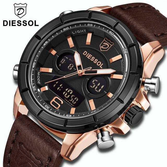 070bc35701b DIESSOL Marca Top Relógio de Luxo Homens Moda Quartz Digital LED Esporte  Relógio De Pulso Dos
