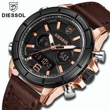 494673022dd DIESSOL Marca Top Relógio de Luxo Homens Moda Quartz Digital LED Esporte  Relógio De Pulso Dos Homens À Prova D  Água Relógio Mil.