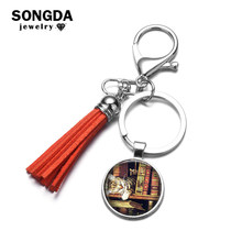 SONGDA Romantic Vintage Library Book Case Key Ring Temperament Old Book Time Gem with Tassel Pendant Key Chain Bag Charm Llavero(China)