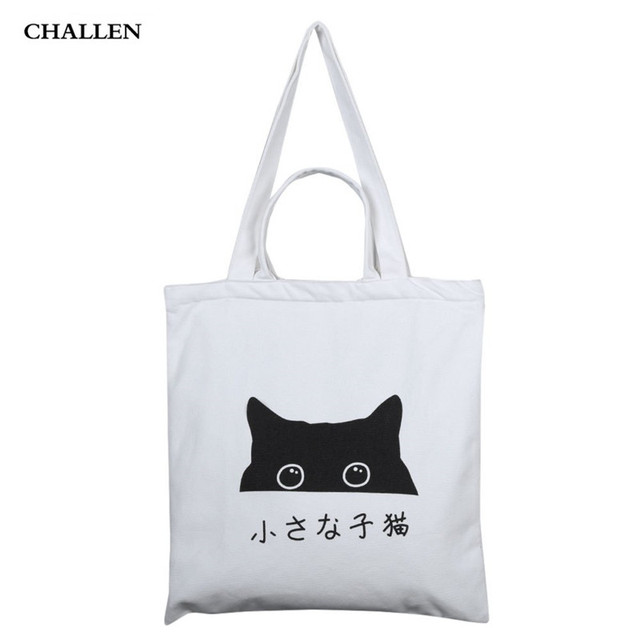 d5bf0bddb2 Prints Cartoon Cat Four Straps Zipper Shoulder Portable Canvas Bag for  Women Sweet Casual Tote Japan and Korean Style