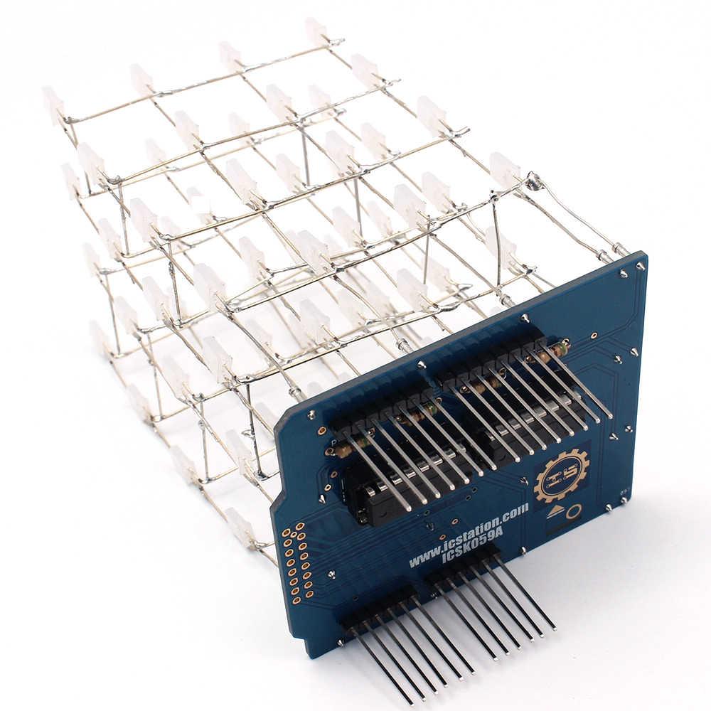 Untuk Arduino LED DIY Kit Elektronik Dalam 4X4X4 Biru Lampu LED Cube Kit 3D Smart Electronics LED Cube Kit DIY Elektronik