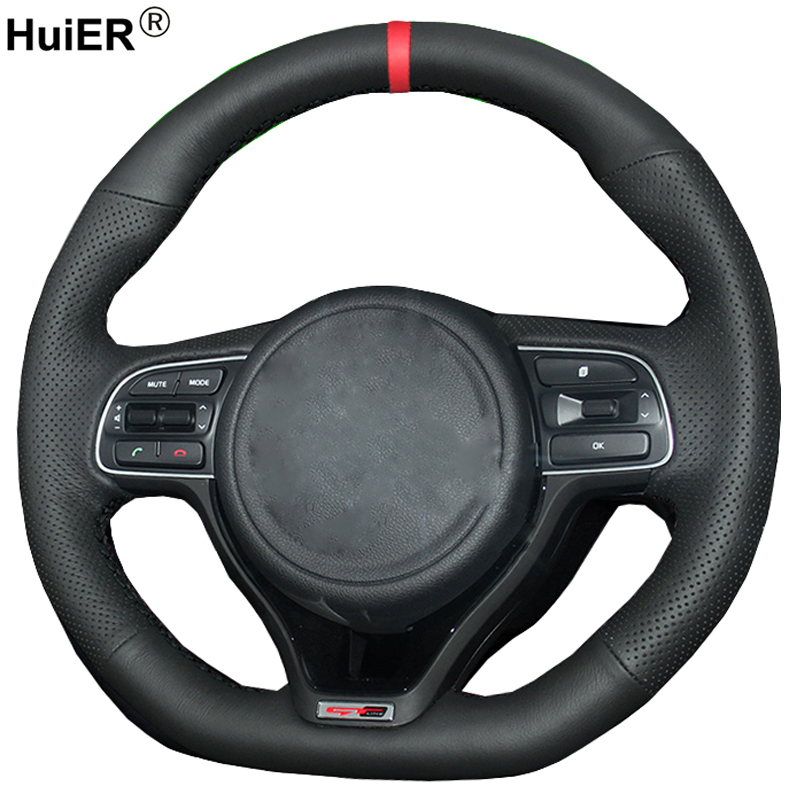 HuiER Hand Sew <font><b>Car</b></font> Steering <font><b>Wheel</b></font> Cover Red Marker For <font><b>Kia</b></font> K5 2016 2017 (sport) <font><b>Sportage</b></font> 4 KX5 2016 2017 2018 Auto Accessorie image
