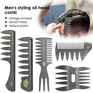 1Pcs Handle Grip Large Tooth Detangling Curly Hair Comb Back Head Styling Beard Oil Comb Men Hairdressing Wide Teeth Comb(China)