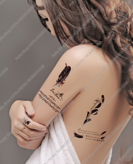 Feather English Words Letters Temporary Tattoos Shoulder Lower Back