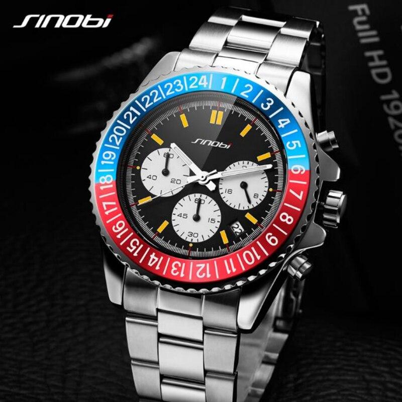 SINOBI Top Brand Chronograph Sport Watch Men Watch Waterproof Men's Watch Luxury Full Steel Watches Men Clock saat reloj hombre цена