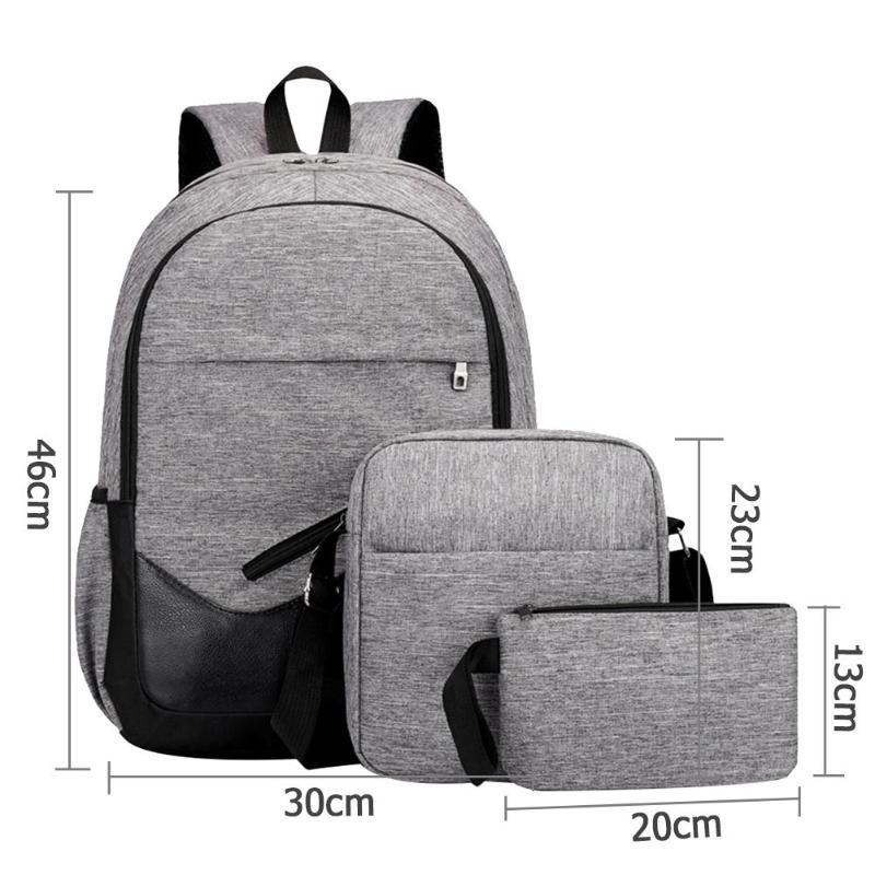 3pcs/Set Mens Backpacks Unisex Travel Nylon Backpacks Teen Shoulder School Bags Clutch Bags gray 20-35 litre 16