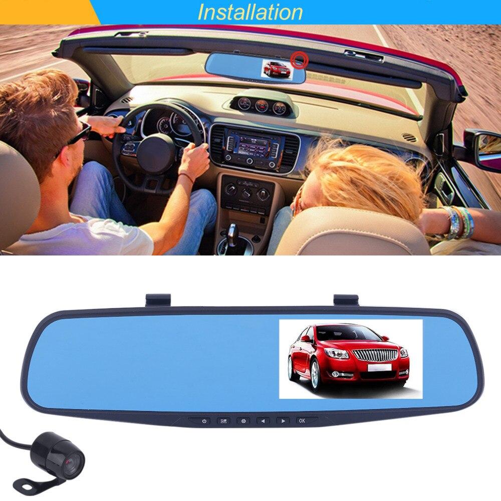 Portable Recorder HD 1080P In-Car Rear View Mirror 4.3 inch TFT LCD Monitor Dash Cam Recorder Dual Lens Camera