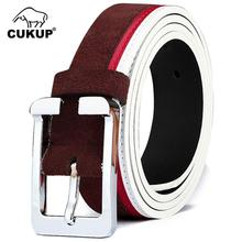 CUKUP Designer Buckle Metal Female Casual Styles Jeans Unisex Black Brown Coffee Orange Green Khaki Leather Belt for Pin NCK410