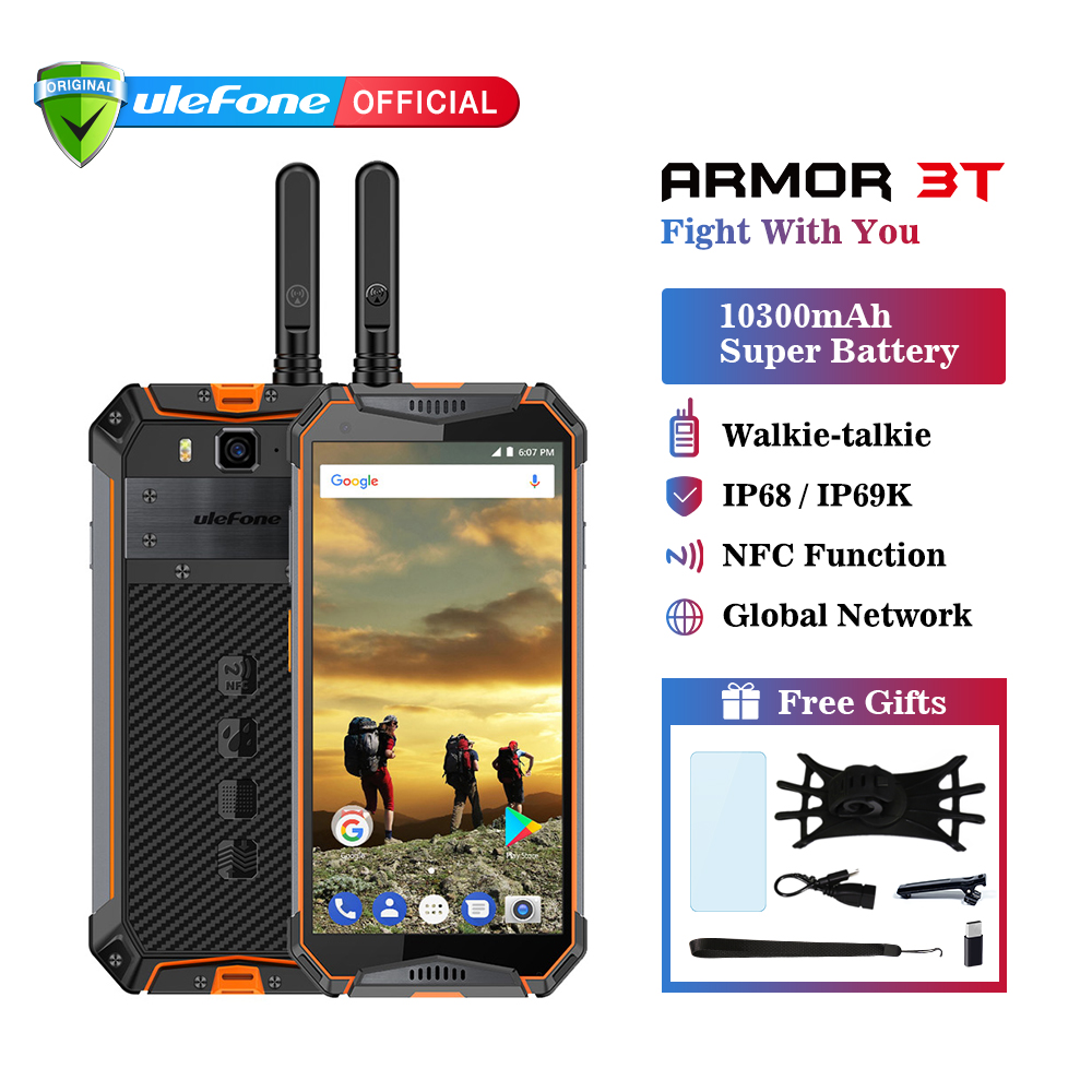 """Ulefone Armor 3T IP68 Waterproof Mobile Phone Android 8.1 5.7"""" FHD+ helio P23 Octa Core 4GB 64GB 21MP Walkie Talkie Smartphone"""