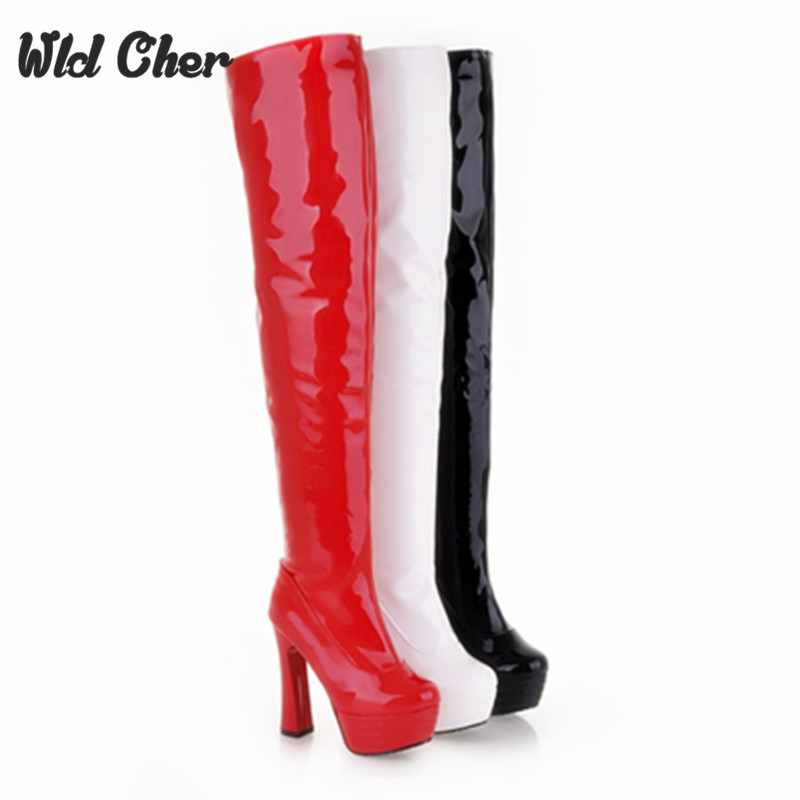 ФОТО Red 2017 Women Boots Over The Knee High Heels Pointed Toe Waterproof Autumn Fashion Sexy Ladies High Heels Boots 34-39 plus Size