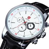 Pacific Angel Shark Sport Watch Men's White Date Day Fashion Casual Men Wristwatch Black Leather Strap Quartz Clock Male / SH093