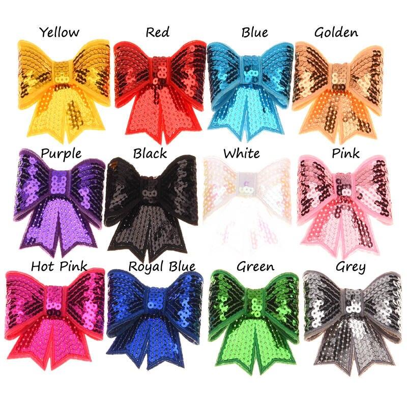 12PCS Sequin Bows Newborn  Hair Bows Hair Accessories Glitter Bow Tie Sequin Embroidery Bows