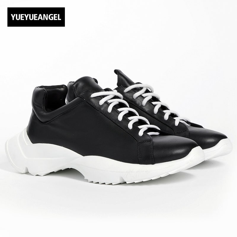 Top Brand Thick Platform Mens Trainers Sneakers Genuine Leather Lace Up Punk Casual Shoes High Street Hip Hop Horseshoe Shoes high quality mens jeans ripped colorful printed demin pants slim fit straight casual classic hip hop trousers ripped streetwear