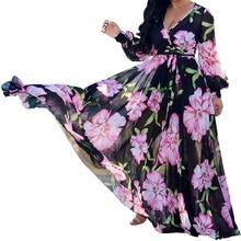 Autumn Dress Casual Long Sleeve Women Clothing Fashion Printed Chiffon Vintage Loose Dresses Frete Gratis Para Brasil