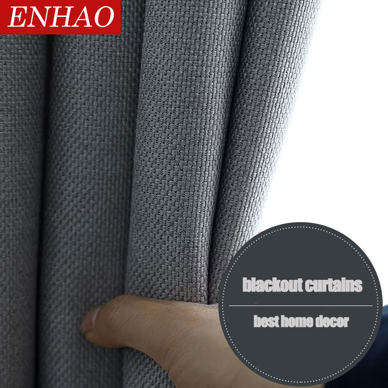 ENHAO Modern Solid Linen Blackout Curtains For Living Room Bedroom Kitchen Curtains For Window Cloth Curtains 80% Shading Panel
