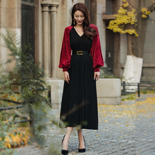28d28145c2 VERRAGEE women sexy maxi party dress retro red black color V neck Spring  2019 lady elegant