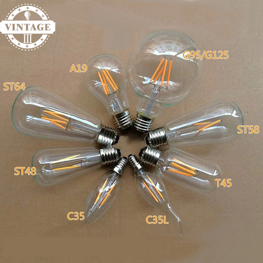 E14 E27 Vintage Warm White COB Filament Decor Lamps ST64 T30 G80 Led Specialty Decorative Edison LED Light Bulbs