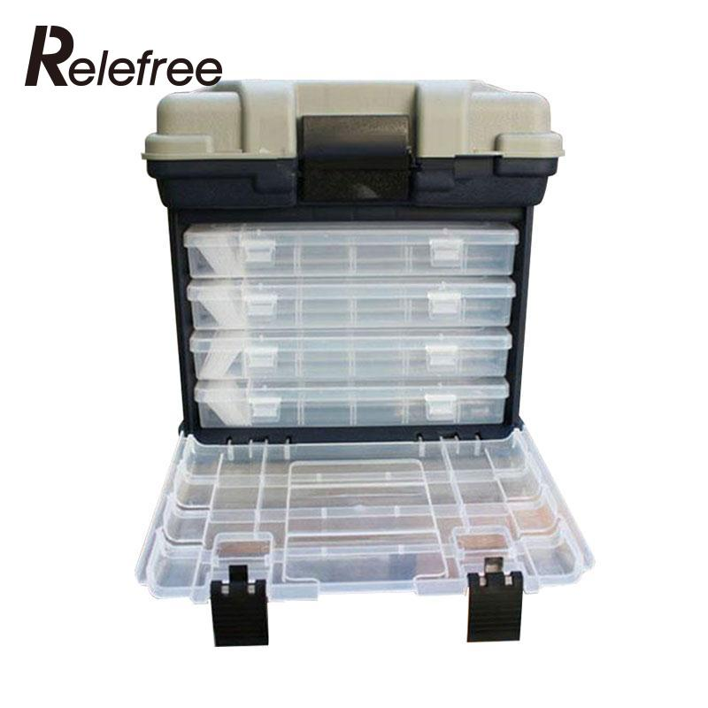 Portable 5 Layer Big Fishing Lure Bait Hooks Container Tackle Tool Storage Box with Handle Plastic Case Outdoor Organizer купить