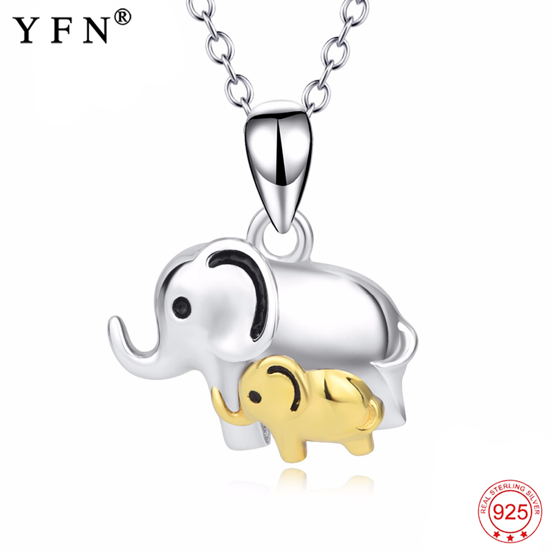 2018 Genuine 925 Sterling Silver Lucky Elephant Mom Child Mother Love Pendants Necklaces Fine Jewelry Gift For Women PYTZ0005 D