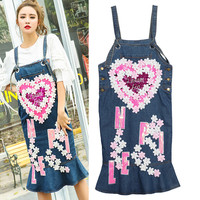 Fashion Designer Denim Dresses Women Ladies Cute Pink Hearts Appliques Flowers Letters Sequin Overalls Mermaid Clothing NZ51