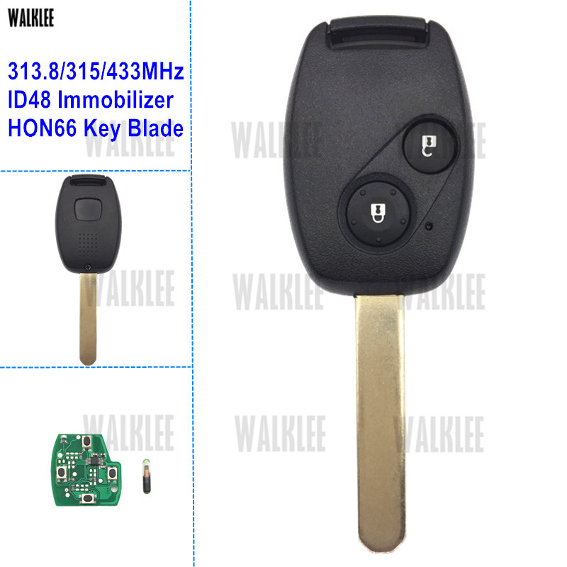 WALKLEE 2 Buttons Remote Key Fit for Honda CR-V Accord Element HR-V Fit City Odyssey Civic Jazz Shuttle Keyless Entry ID48 fuzik keyless go smart key keyless entry push remote button start car alarm for honda accord odyssey crv civic jazz vezel xrv