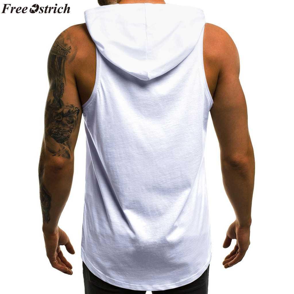 Libre de avestruz 2019 nuevo caliente, de moda, los hombres Casual carta impresa Slim con capucha sin mangas tapa del tanque hombres gimnasios Chaleco de Fitness blusa