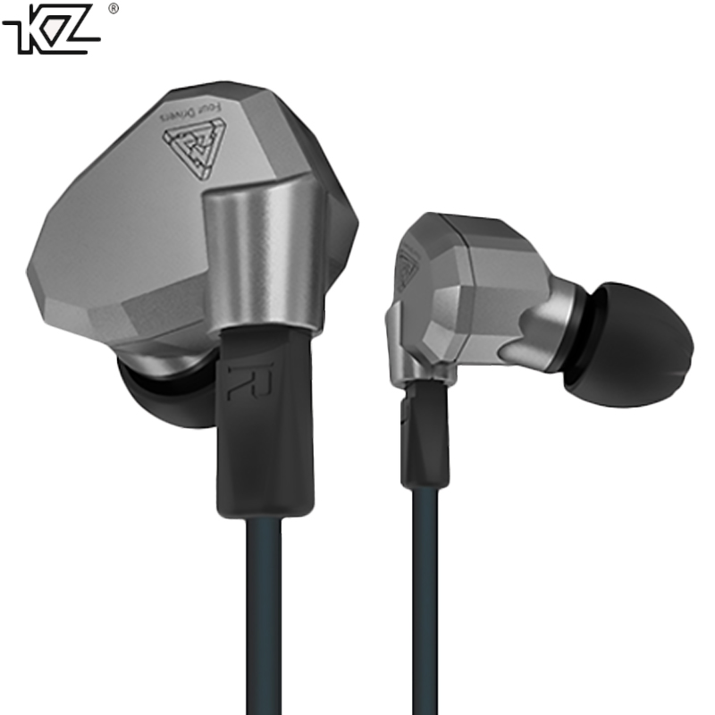 KZ ZS5 original earphone wired cable with microphone stereo bass quad driver portable detachable cables Blue Grey 3 sizes muff