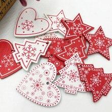 20шт микс белый/красный дерево веселая Рождественская елка сердце пуговицы Швейные Ремесло WB492