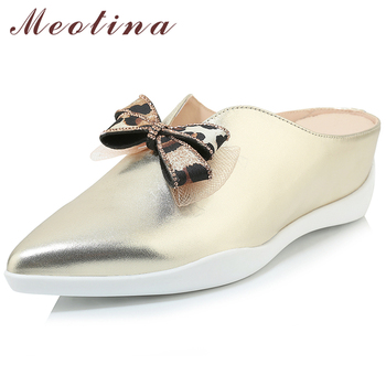 Meotina Summer Slippers Women Mules Shoes Natural Genuine Leather Wedge High Heel Shoes Bow Pointed Toe Slides Ladies Size 34-39