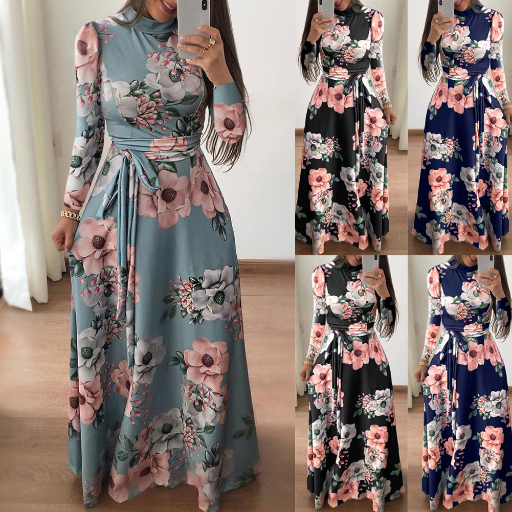 Womens Floral Maxi Dress Long Sleeve Evening Party Summer Beach Long Dresses Printed Boho Sundress New Fashion Streetwear