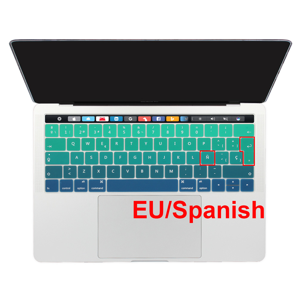 Protecteur de peau de couverture de clavier de Silicone de langue espagnole de l'ue pour Macbook 2018 2019 Pro 13 15 avec la barre tactile Retina Pro 13.3