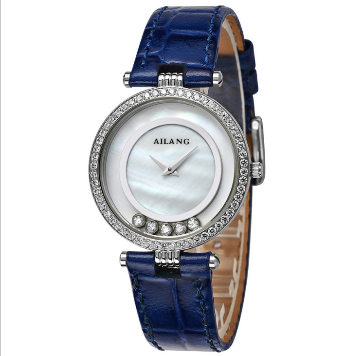 Brand AILANG Women Lovely Moving Crystals Watches Quartz Elegant Lady Natural Shell Dress Wrist watch Candy Colors Leather W047 classic designer heart shape case women candy colors leather watches quartz 2 hands analog wrist watch shell crystals reloj w048