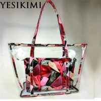 YESIKIMI 2017 Summer Beach Tote Large Size Quality PVC Colorful Printing Purse Clear Beach Bags With Inner Bag Women Handbags