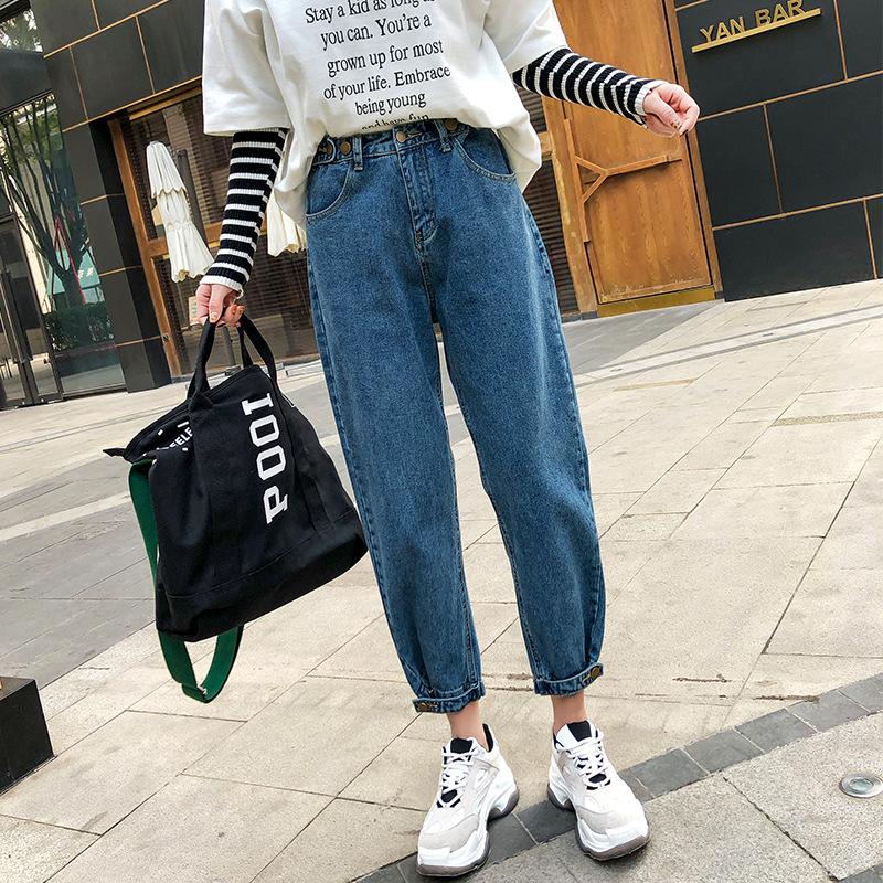 Nonis High Waist Boy Friend Loose Slim Daddy   Jeans   Student Straight Sweet Denim Pants 2019 Spring Casual Women Female Streetwear