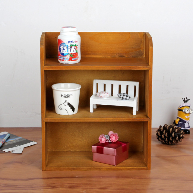 1PC Retro Multi Layer Wooden Furniture Storage Box Cabinet Wall Display For Living