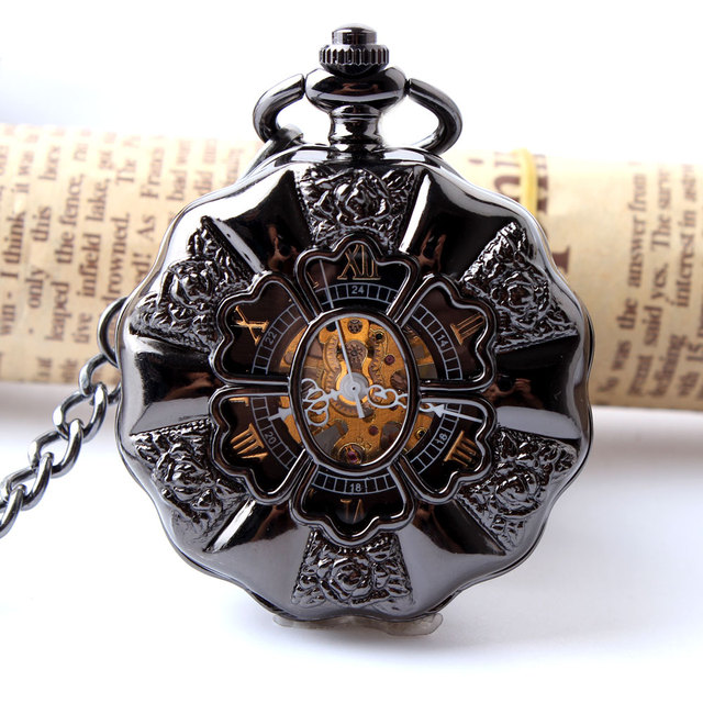 Black Full Steel Luminous Mechanical Pocket Watch Steampunk Vintage Hollow Analo
