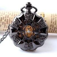 Black Full Steel Luminous Mechanical Pocket Watch Steampunk Vintage Hollow Analog Skeleton Hand Winding Mechanical Pocket