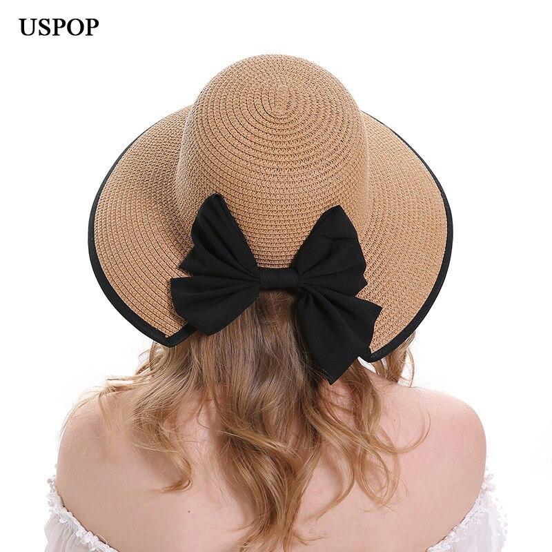 413a49fd4bb USPOP 2018 Fashion New women sun hat female wide brim straw hats back  opening bow-knot sun hats summer casual beach hat