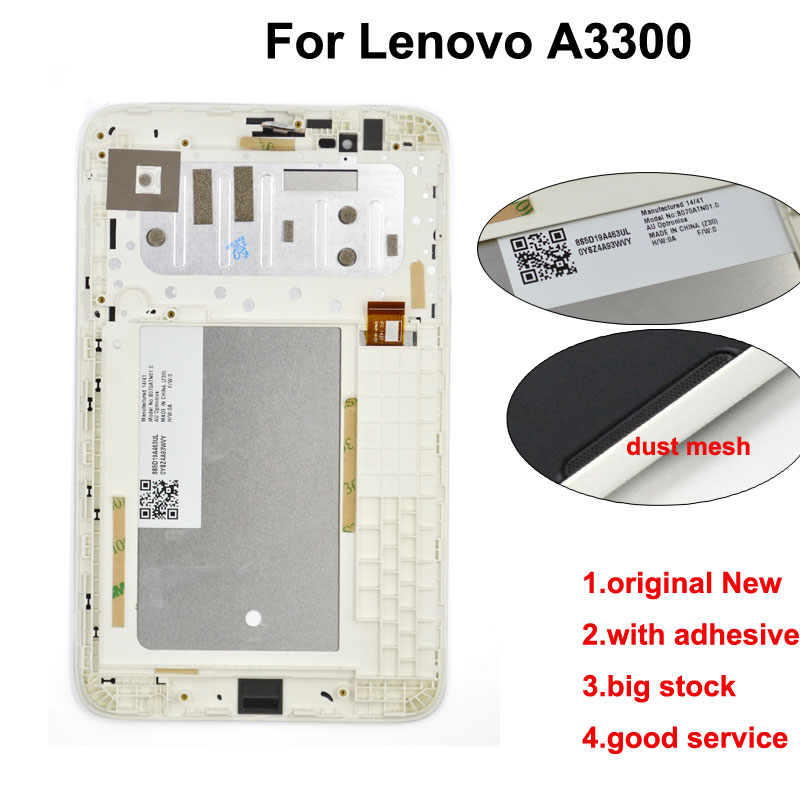7 inch For <font><b>Lenovo</b></font> <font><b>A3300</b></font> A3300T <font><b>A3300</b></font>-<font><b>GV</b></font> <font><b>A3300</b></font>-HV LCD Display + touch screen Panel + Frame Assembly DHL Free image