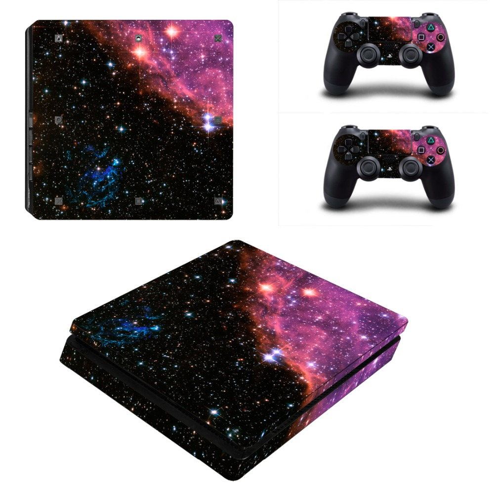Protetive Vinyl skin For PS4 Slim Sticker For Sony Playstation 4 Slim Console+2 controller Skin Sticker For PS4 S Skin 4