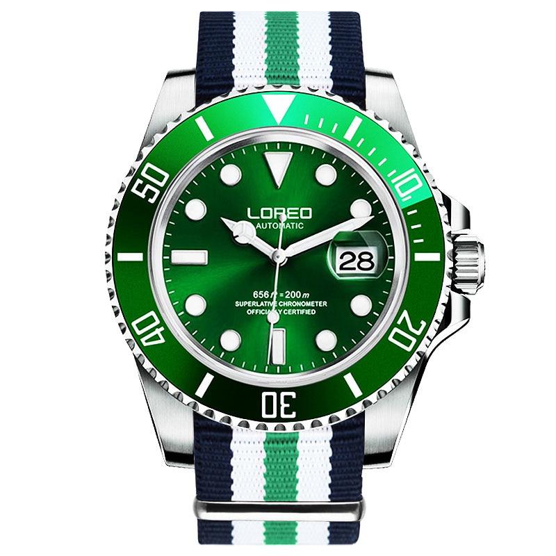 Montre mécanique automatique saphir LOREO hommes argent acier inoxydable étanche cadran vert montre en Nylon relogio masculin
