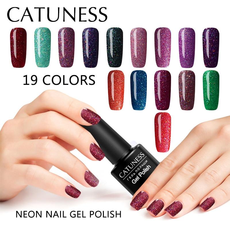 CATUNESS Colorful Neon Nail Gel Polish Soak Off UV Art Long-lasting Varnish Lacquer Led Lamp Poly Gel Nail Polish